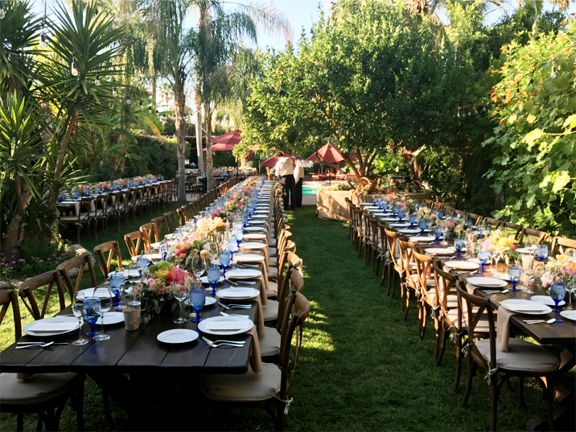 back yard-event-long brown tables